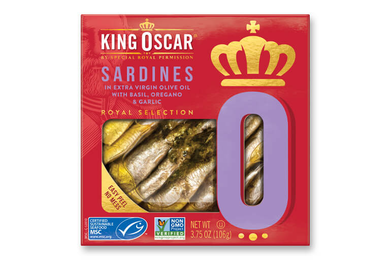 Brisling Sardines in Extra Virgin Olive Oil with Basil, Oregano & Garlic