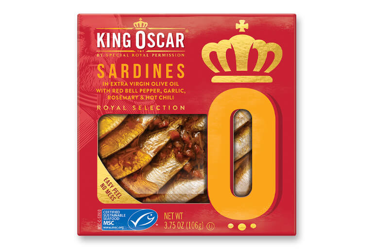 Brisling Sardines in Extra Virgin Olive Oil with Bell Pepper, Herbs & Hot Chili