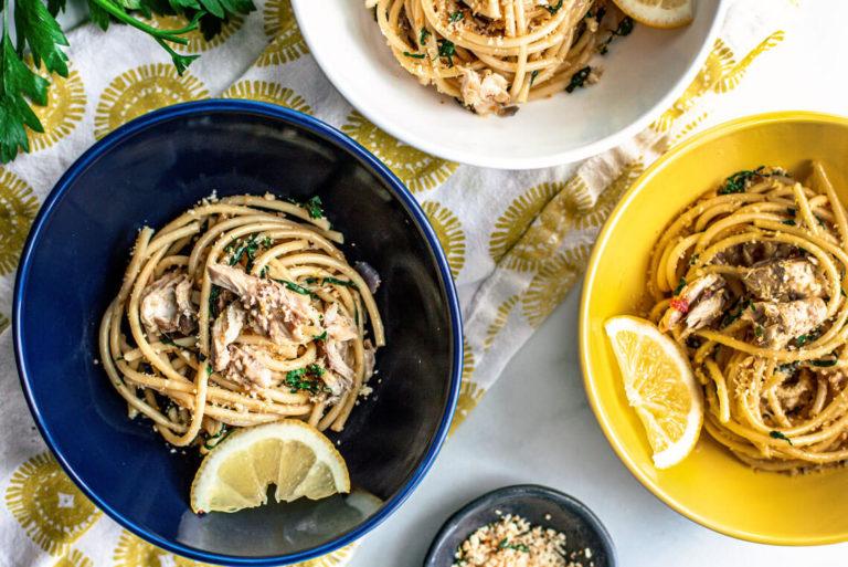 Bucatini with Mackerel, Swiss Chard, Preserved Lemon & Chili