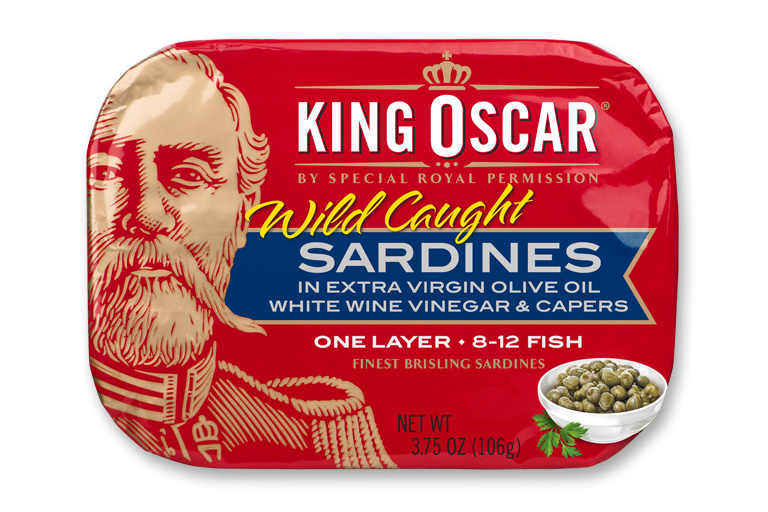 Brisling Sardines in Extra Virgin Olive Oil with White Wine Vinegar & Capers